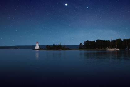 blue, sky, stars, galaxy, night, trees, plant, nature, sea, ocean, water, horizon, reflection, lighthouse, boat