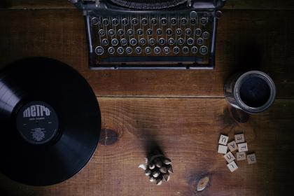 typewriter, vintage, letters, scrabble, vinyl, record, album, lp, music, wood, table, objects, business