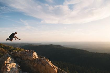 sunrise, mountain, highland, valley, landscape, nature, travel, outdoor, hill, summit, sky, people, man, jump, adventure, outdoor, travel