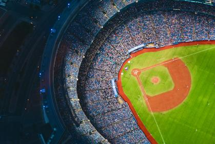 baseball, stadium, crowd, people, diamond, field, sports, team, athletes, aerial, view