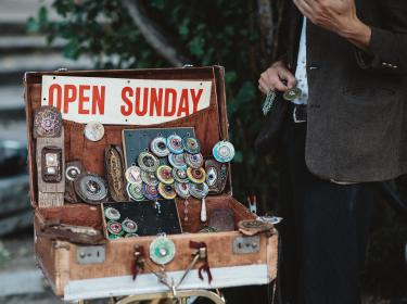 sell, necklace, box, business, vendor, display, outside, creative