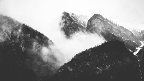 nature, mountains, summit, peaks, fog, clouds, sky, black and white