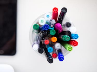 colorful, pen, marker, art, drawing, school, office, supplies, white, table, work, desk, business