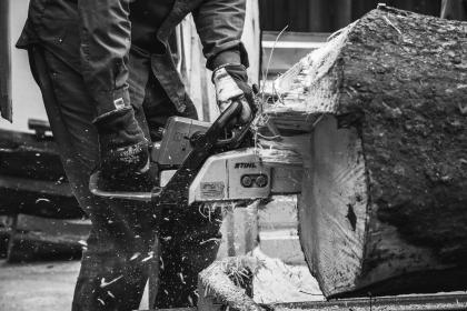 guy, man, male, people, work, cut, chainsaw, wood, log, timber, black and white
