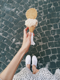 woman,  holding,  ice cream,  street,  summer,  dress,  female,  walking,  girl,  cobbles