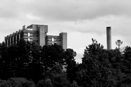 monochrome,  building,  exterior,  factory,  trees,  industrial,  architecture,  structure,  city,  urban,  sky,  daytime