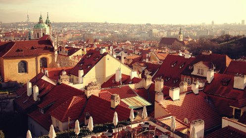 rooftops, buildings, houses, homes, city, sky