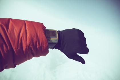 watch, hand, gloves, jacket, cold, weather, snow, winter
