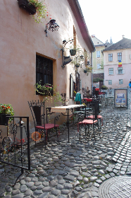 romania,  cafe,  cobbles,  side-street, chair, table, coffee