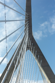 bridge,  abstract,  city,  angle,  architecture,  structure,  modern,  cable,  lines,  tower,  sky,  clouds,  design,  travel