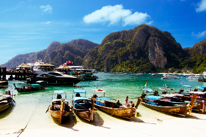 Thailand,  Phi Phi Island,  sky,  clouds,  boats,  ocean,  clear water,  relax,  exotic, mountain, blue, sea, ocean, island