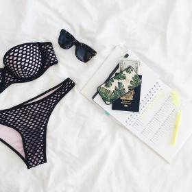 bikini, sunglasses, outfit, notebook, passport, travel, summer, vacation, white, bed, sheet