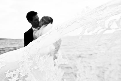 people, man, woman, couple, marriage, wedding, gown, formal, tuxedo, black and white, monochrome, love, intimate