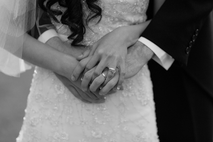 marriage,  wedding rings,  wedding, couple, holding hands, love, romantic, wedding dress, suit, man, woman, hands, rings
