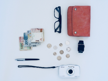 money,  purse,  glasses,  camera,  digital,  watch,  white background,  pen,  pencil,  notes,  cash,  spend,  travel