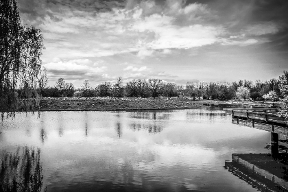 lake, river, water, sky, clouds, nature, outdoors, reflection, trees, landscape, black and white