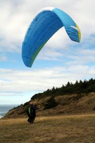 sky, clouds, mountain, tree, grass, paragliding, adventure, people, man