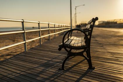 bench, boardwalk, wood, beach, sand, ocean, sea, sunset, dusk
