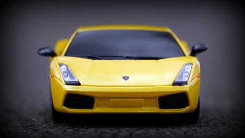 crafts, hobby, miniature, cars, still, items, things, toys, model, scale, asphalt, ground, lamborghini, aventador, yellow, bokeh