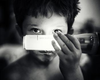 black and white, kid, child, boy, flashlight, bright, hand, eyes, light, people