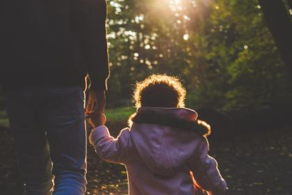 people, man, father, baby, kid, child, walking, holding hands, sunlight, sunrise, sunshine, sunset, trees, plants, nature, bokeh