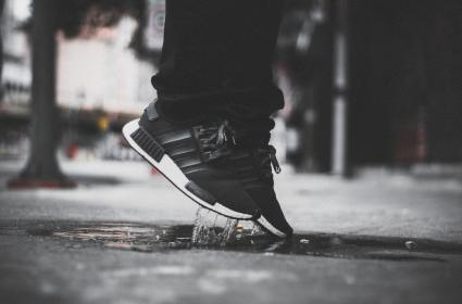 people, man, sole, shoes, adidas, nmd, black, water, wet, shoelace, design
