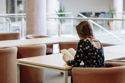 table, chairs, sofa, people, alone, girl, sitting, reading, book, blur, student, study