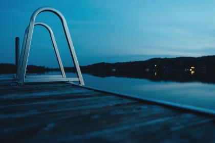 dock, ladder, steps, lake, water, night, reflection, evening, sky, nature, outdoors