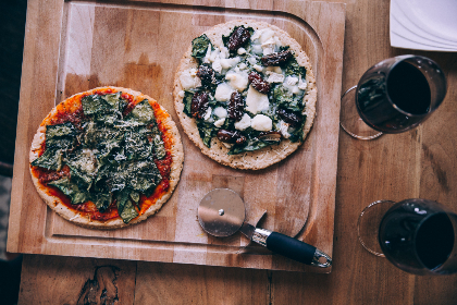 pizza,  wine,  rustic food,  wine glasses,   food,  red wine,  wood,  pizza slicer,  comfort food,  top down,  food background,  pizzas