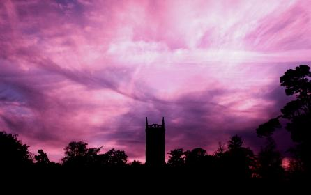 sky, clouds, trees, building, silhouette, dark, sunset, nature