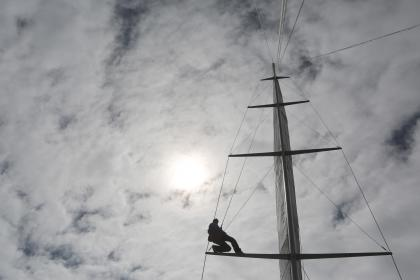 mast, sailboat, sailing, clouds, cloudy, sky, sun, adventure, outdoors, people
