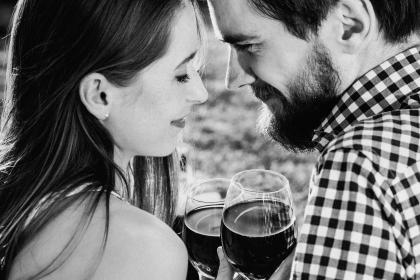 people, man, woman, wine, couple, intimate, love, happy, smile, black and white, monochrome, sweet