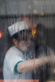 window, glass, moist, wet, water, drops, people, woman, cooking, chef