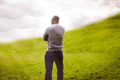 people, man, african american, nature, green, grass, nature, clouds, sky