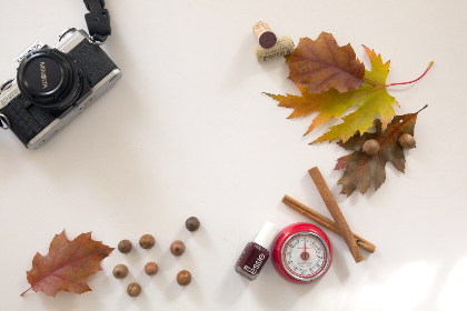 flat lay,   camera,   autumn,   leaves,   fall,   foliage,   makeup,   clock,   desk,   freelance,  retro,  vintage,  acorns,  copyscape