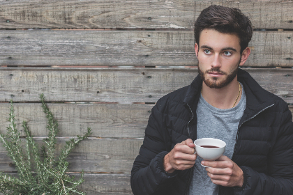 man,  coffee,  wood,  wall,  plant,  rustice,  young,  people,  male,  grey,  t shirt,  jacket,  cup,  tea,  drink,  food, beard