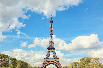 eiffel tower,  paris,  france,  holiday,  vacation,  tourism,  blue sky,  clouds,  city,  europe