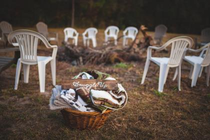 blanket, outdoor, camp, bonfire, chairs, nature, woods, forest, grass, basket