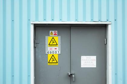 danger, warnings, signage, door, steel, numbers, grey, blue