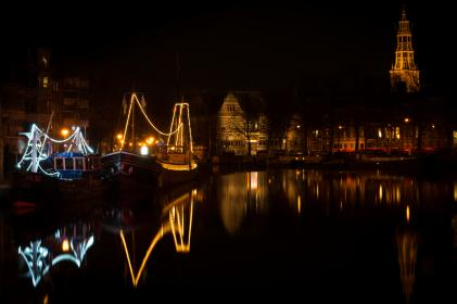 Groningen, Netherlands, night, boats, canal, lights, water, reflection, houses, city, town, dark, evening