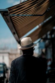 blur, people, old, man, male, walking, alone, back, coat, hat, roof