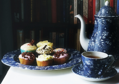 tea, cupcakes, food, snack, dessert, treat, teapot, cup, plate
