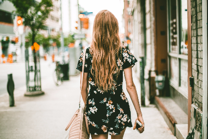 walking,  city,  girl,  female,  woman,  blonde,  dress,  purse,  travel,  explore
