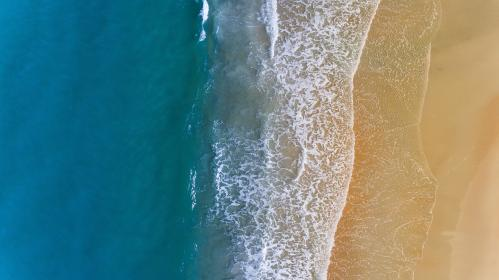 sea, ocean, blue, water, wave, nature, white, sand, shore, coast, beach, summer, travel, aerial, view