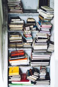 books, notebook, collection, paper, sheets, pages, binds, shelf, old