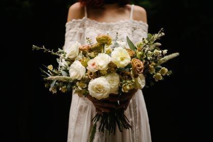 bouquet, flower, bunch, bundle, wedding, people, girl, white, gown, dress