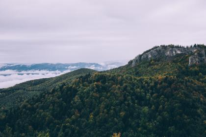 mountain, valley, rock, hill, forest, tree, plant, nature, autumn, blue, sky, clouds, view, landscape