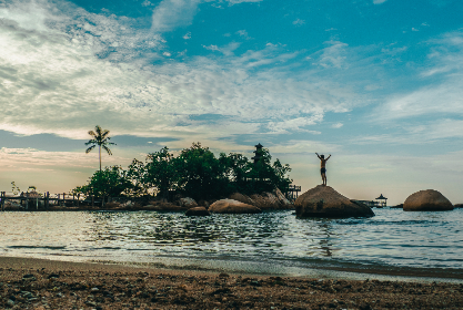 travel,  sea,  paradise,  adventure,  sky, man, clouds, beach, sand, palm tree, tree, wood, island, wave, ripple