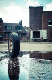 houses, water, road, street, outdoor, wheel, vehicle, reflection