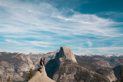 woman,  child,  hike,  mountain,  cliff,  backpack,  blue,  sky,  clouds,  equipment,  adventure,  rockface